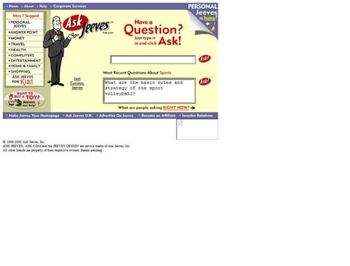 Ask Jeeves (сейчас Ask.com) 1999
