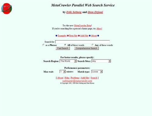 MetaCrawler 1996