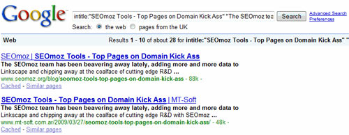 SEOmoz Tools – Top Pages on Domain Kick Ass