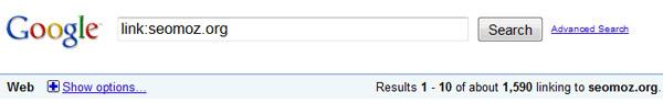 Поисковая директива Link: показывает точные цифры