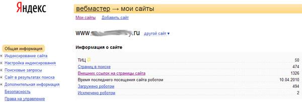 Данные по панели Яндекс.Вебмастер