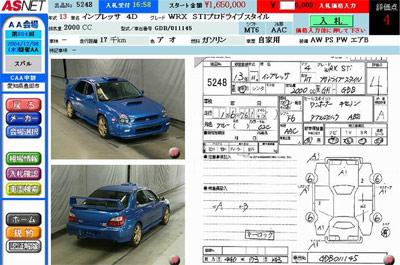 Аукцион: продажа японских авто - детальные данные в аукционном листа