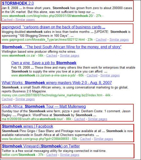 Stormhoek wines - на первом месте в выдаче  Google включая Facebook и Twitter