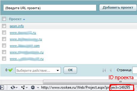 ID проекта в системе RooKee