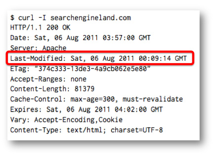 HTTP хэдер Last-Modified возвращает ответ в виде даты последнего изменения документа