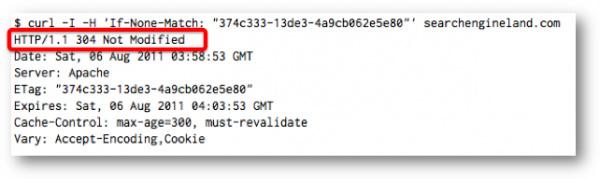 Если его значение совпадает с Etag, тогда сервер возвращает ответ 304 Page Not Modified